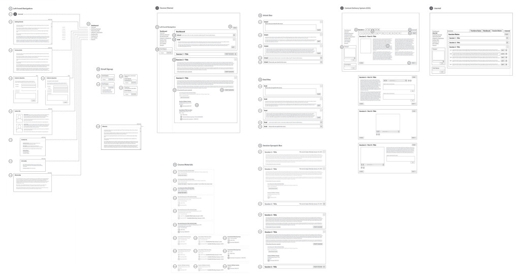 Sounds True Online Courses application UI wireframes.